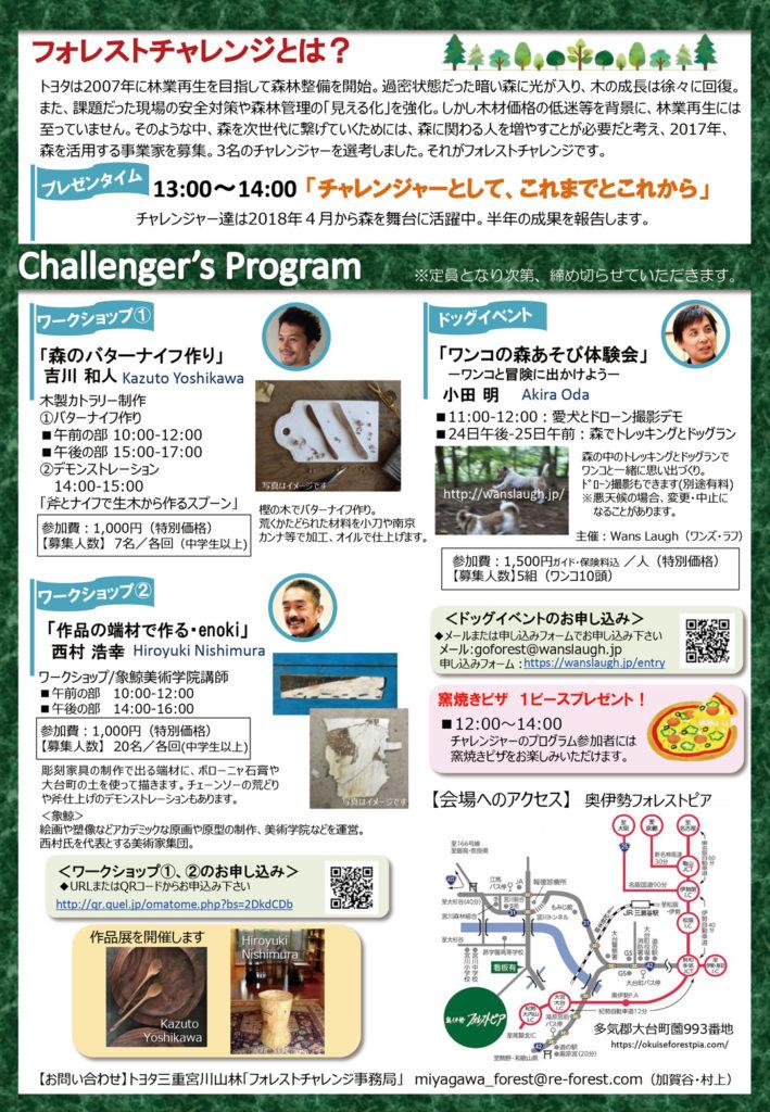 トヨタフォレストチャレンジフェス2018 森あげプロジェクト チラシウラ