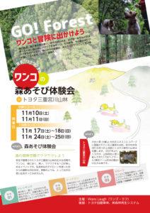 ワンコの森あそび体験会 in トヨタ三重宮川山林 フライヤー表面
